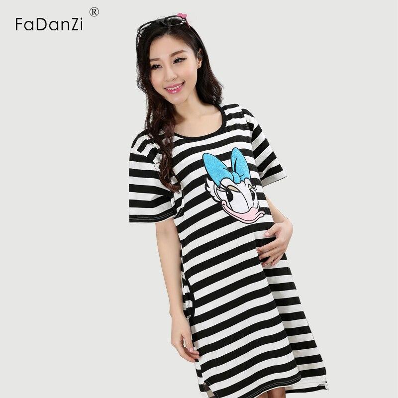 2018 summer Breastfeeding skirt Cartoon stripe breast feeding nightwear maternity sleepwear maternity dress nursing sleepwea