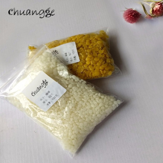 CHUANGGE 100g Pure Natural Beeswax Candles Making Supplies 100% No Added Soy Wax Lipstick DIY Material Yellow Bee Wax Cera Flava