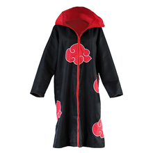Naruto Cosplay Akatsuki Unisex Black Robe Red Cloud Cloak Costume