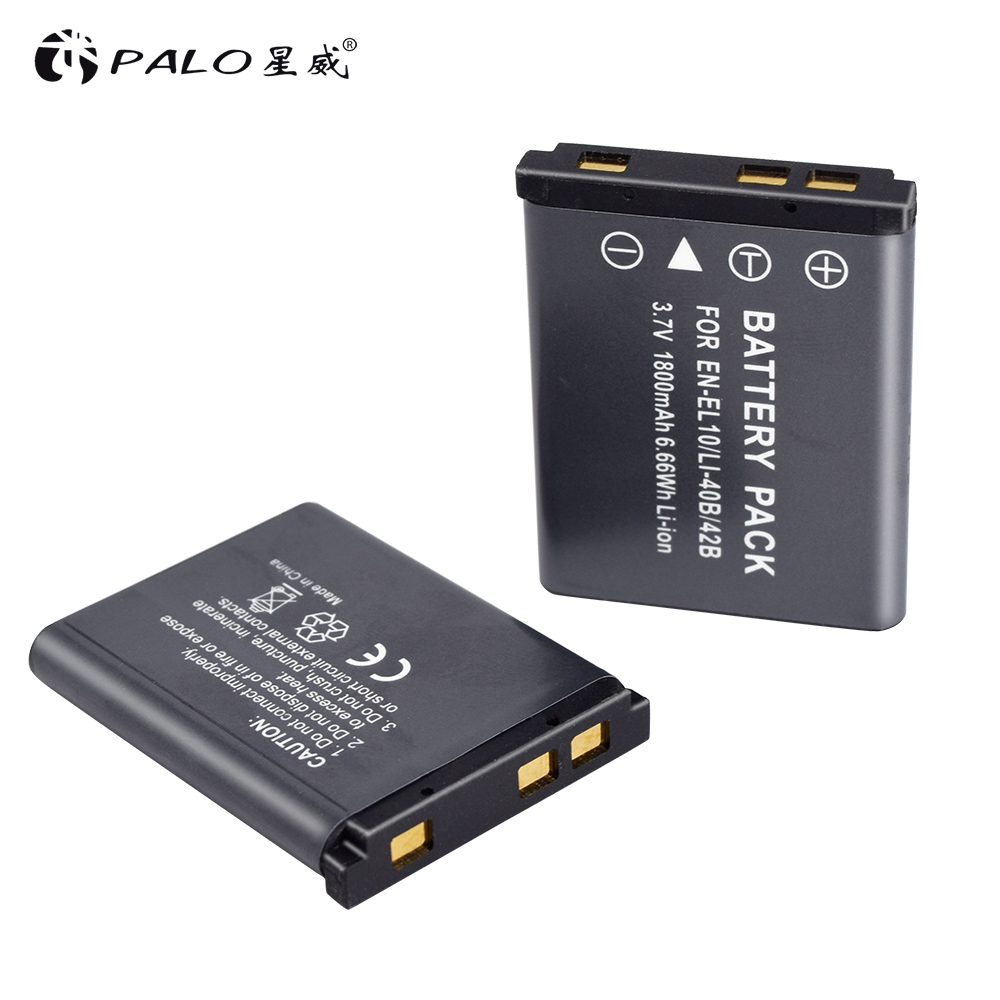 PALO 2pcs <font><b>1800mAh</b></font> EN-EL-10/LI-40B/42B Li-ion digital Camera <font><b>Battery</b></font> <font><b>3.7V</b></font> LI-ION For Nikon S220 S225 S3000 S5100 S4000 S520 etc. image
