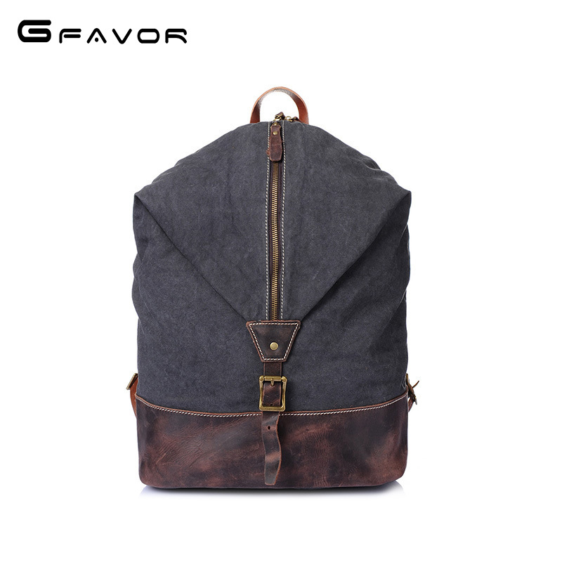 Vintage Canvas Backpack Men High Quality Crazy horse Leather student bag Large Capacity Travel Shoulder Bag Male Laptop Backpack men s casual bags vintage canvas school backpack male designer military shoulder travel bag large capacity laptop backpack h002