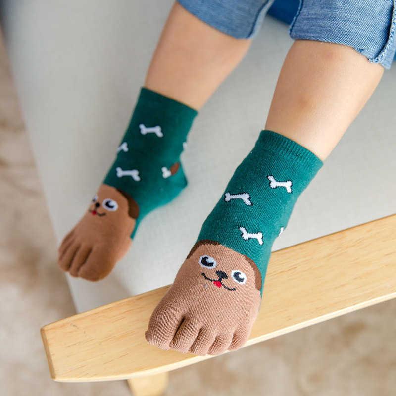 Детские носки хлопчатобумажные животного для мальчиков и девочек носки с мультяшным Рисунком дешевые ВЕЩИ КРЕАТИВНЫЕ милые носки для детей пять носок с пальцами От 3 до 7 лет/От 7 до 12 лет
