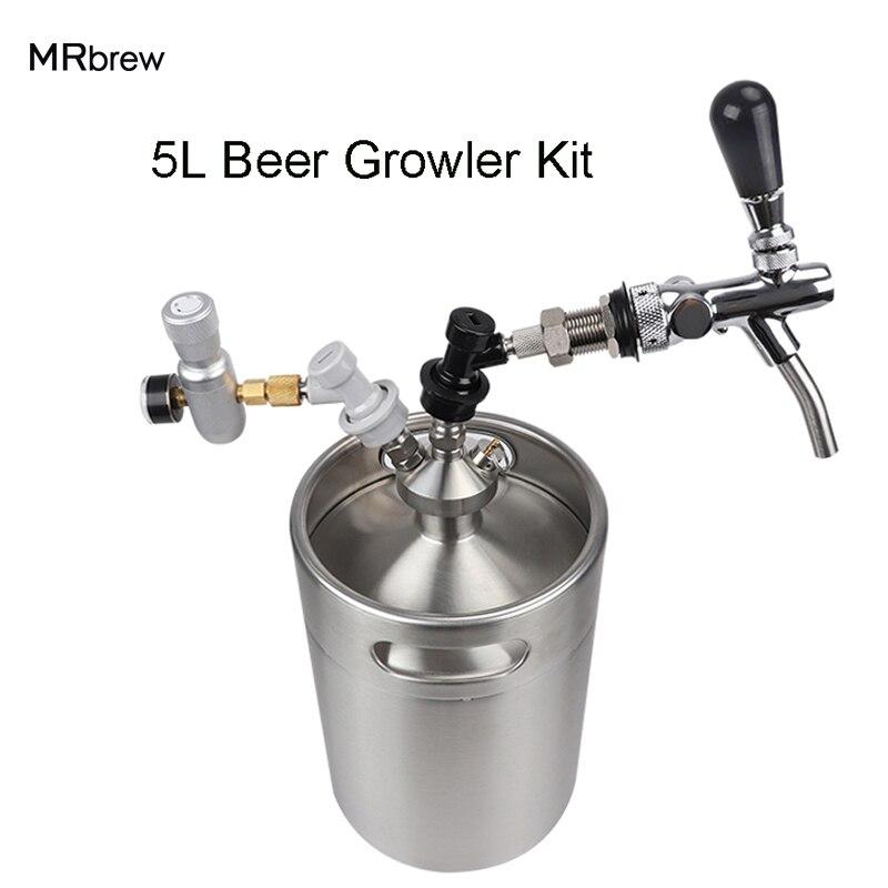 Новый 2018 Нержавеющаясталь 5L мини пиво Ворчун + мини-бочонок диспенсер с регулируемым пивной кран + Co2 бочонок комплект зарядное устройство
