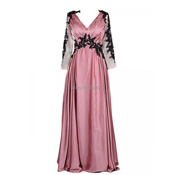 YNQNFS MD14 V Neck Empire Waist Dusty Pink Sheer Long Sleeves Mother of the Bride/Groom Dresses Outfit Real Photos