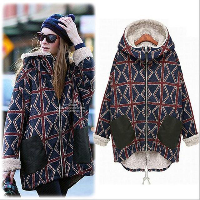 Invierno de espesor, además de terciopelo mujeres de la capa larga sección Del Dobladillo Irregular capa de la chaqueta abrigo de invierno de la moda de impresión grandes sizewarm