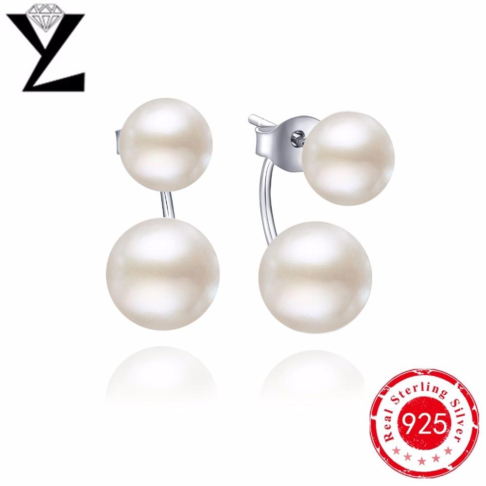 Fashion 925 Sterling Silver Stud Earrings Luxury Double
