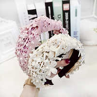 Fashion Hollow Lace Floral Hairband Wide Side Headband Solid Pearls Hair Hoop Middle Knot Hair Accessories Adult Wholesale