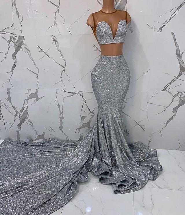 Robe De soirée Sexy paillettes sirène 2 pièces argent robes De bal 2019 pleine paillettes sans manches pure Top Robe De bal