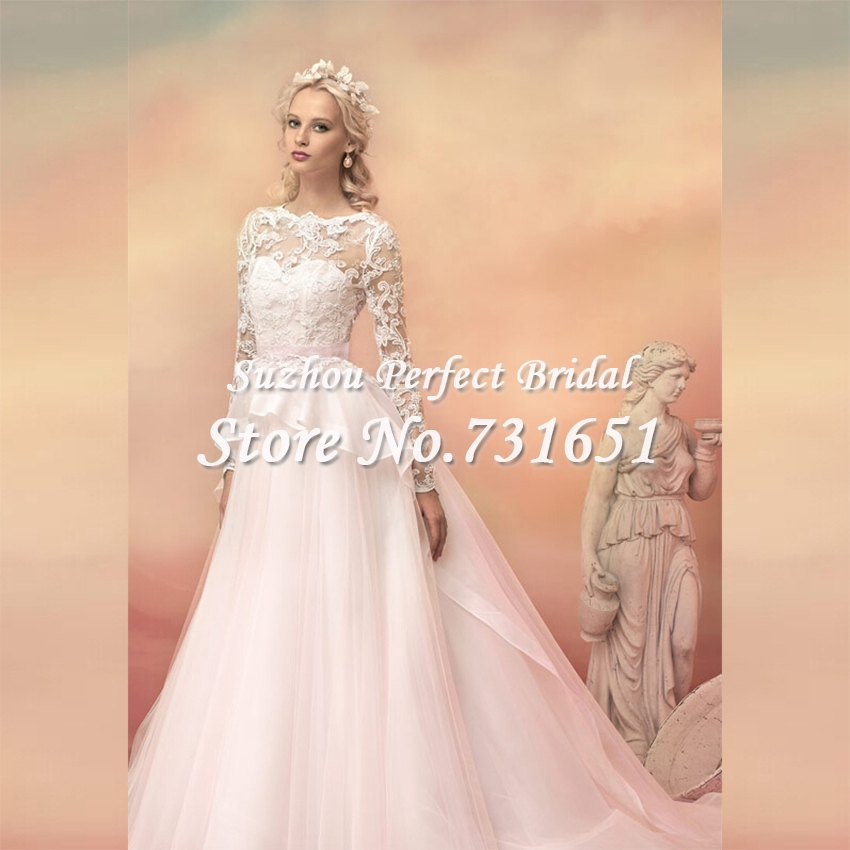 2015 vintage blush pink long sleeves bridal wedding
