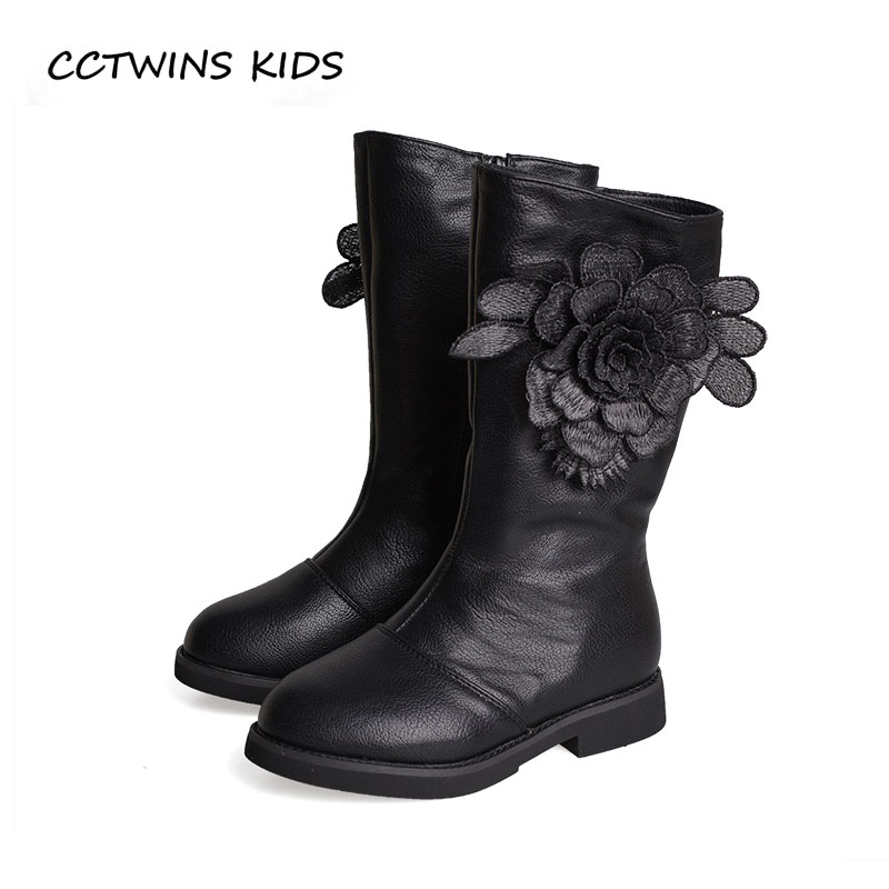 CCTWINS KIDS 2018 Winter Baby Girl Pu Leather Shoe Children Fashion Knee High Boot Toddler Brand Warm Boot Black H014 cctwins kids 2017 children brand high boot kid fashion over the knee boot baby girl toddler genuine leather black shoe c1312