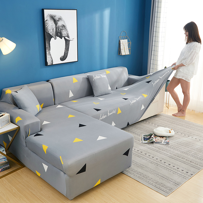 2 pcs Corner Sofa Cover Elastic Couch Cover for Sofa Sectional L Shaped  Sofa Cover Chaise Longue Stretch Sofa Slipcover L shape