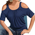 Новый 2016 Летняя Мода Топы Женщин Сексуальный С Плеча Сплошной Цвет Рубашки Качество Бренда Blusas Femininas Плюс Размер Повседневная Блузки