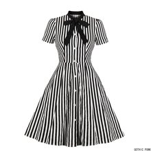 المرأة خمر فستان مخطط الصيف 50s القوس طوق أنيقة مكتب عادية أنيق القوطي السيدات ريترو روكابيلي فساتين