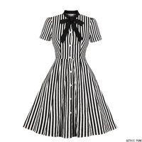 Women Vintage Stripe Dress Summer 50s Bow Collar Elegant Office Casual Stylish Goth Ladies Retro Rockabilly Dresses