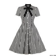 Kobiety w stylu Vintage sukienka w paski lato 50s łuk kołnierz eleganckie biuro Casual stylowe Goth panie Retro sukienki rockabilly