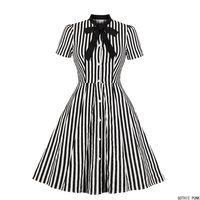 Women Vintage Stripe Dress Summer 50s Bow Collar Elegant Office Casual Stylish Goth Ladies Retro Rockabilly Dresses