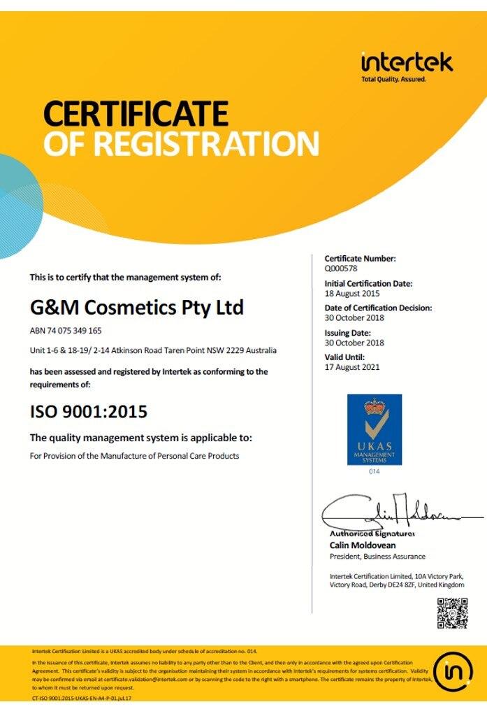 ISO-9001-2015-GM-Cosmetics-Pty-Ltd