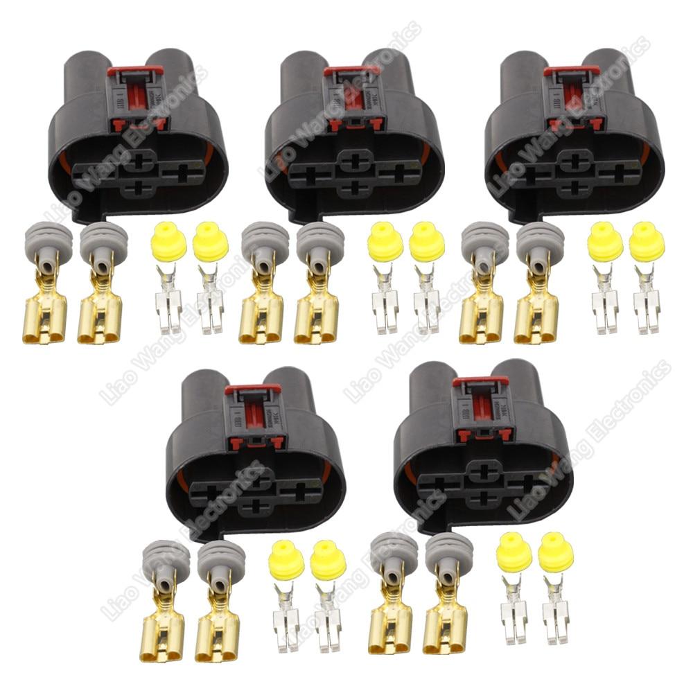 5 ensembles connecteur femelle de harnais de ventilateur électronique à 4 broches avec DJ7042YA-6.3-9.5-21 de borne, 1K0906234