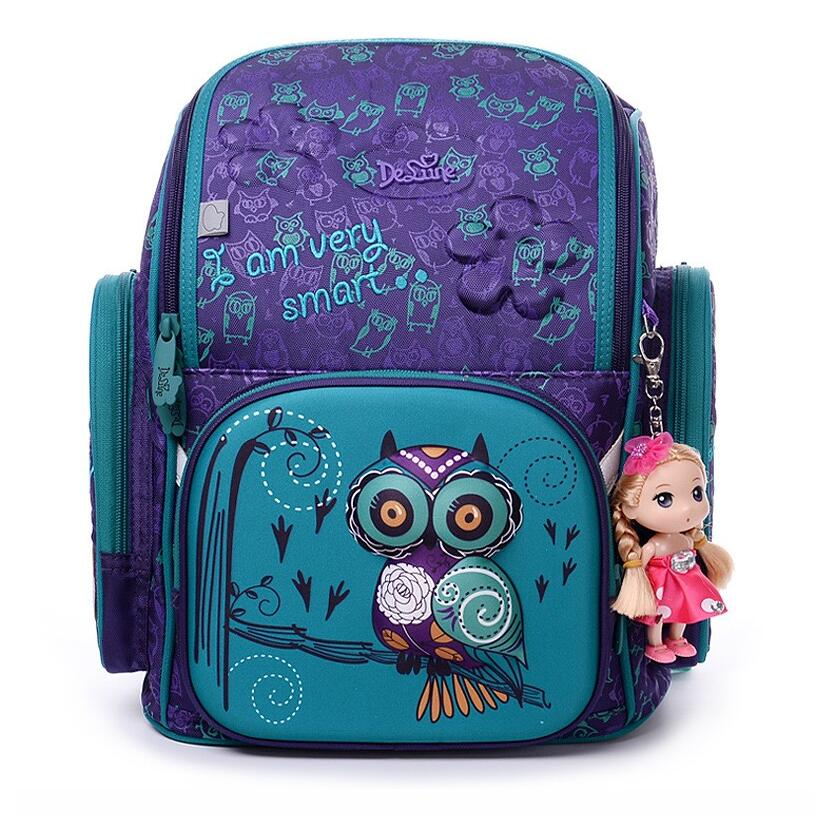 DELUNE Children Cartoon 3D Bear Owl Racing Car Pattern Girls Boys School Bags Waterproof Foldable Orthopedic School Backpacks