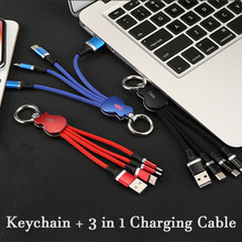 3 in 1 Keychain Cable Flexible USB Fast Charge Data Phone 16cm Portable Short Line For Huawei lite/2/2 plus/2s/3
