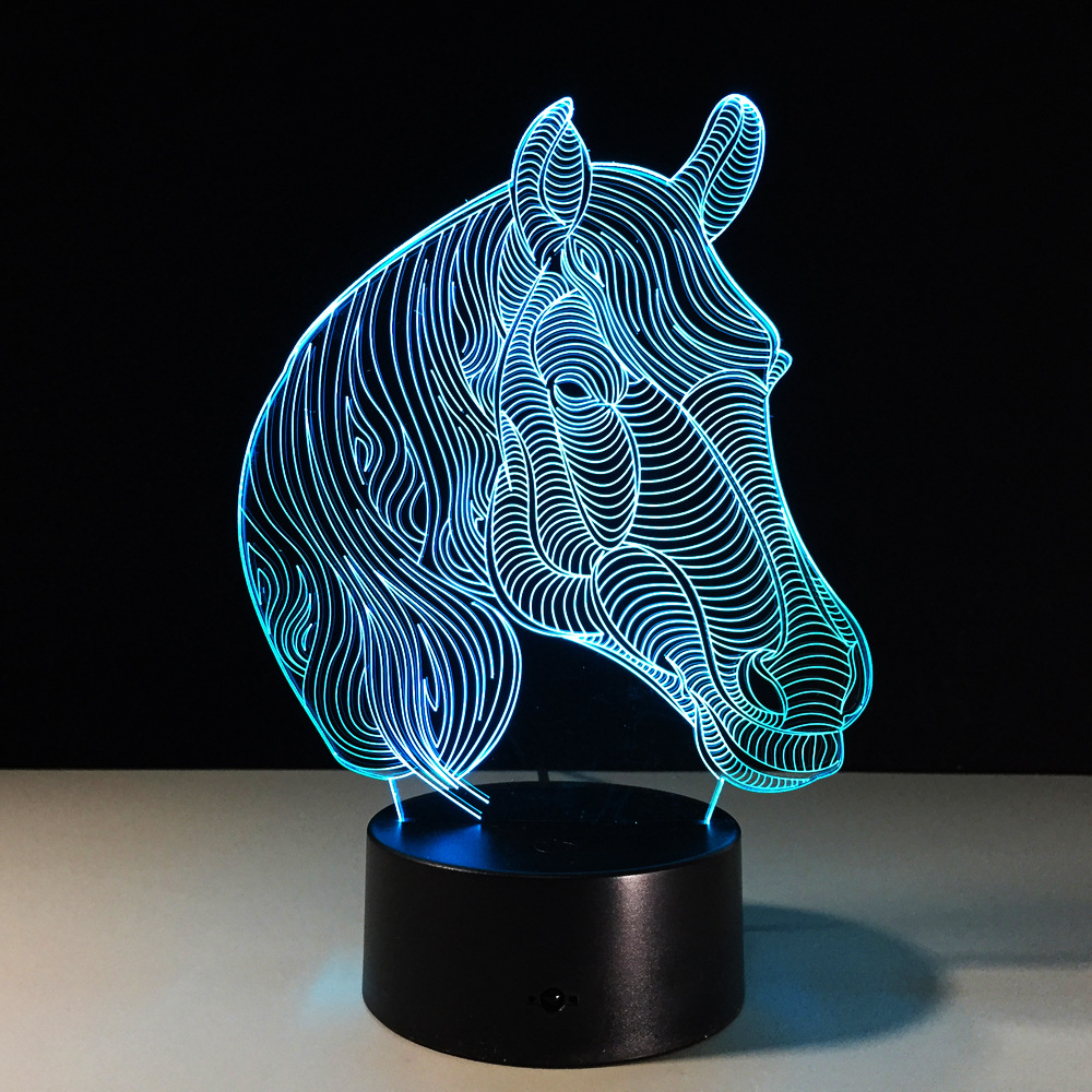 7 Color Horse Head Lamp 3D Visual LED Night Lights for Kids Touch USB Table Lampara Lampe Baby Sleeping Nightlight GX526