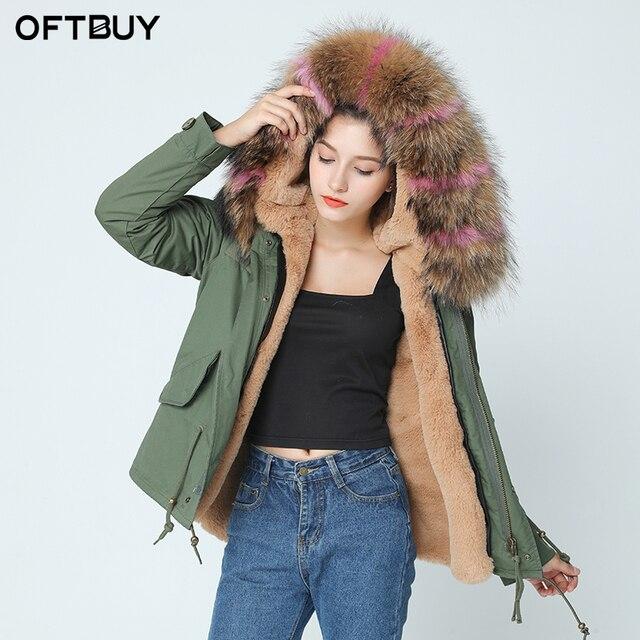 296e77ed2bf OFTBUY бренд 2019 хаки зимняя куртка женская парка Настоящее пальто с мехом  натуральный большой мех енота