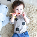 Baby Sweatshirts T-shirt Autumn Winter 2016 Kids Full Long Sleeve Infant Baby Boys Girls Tops Tee black Dot Full O-neck Fits
