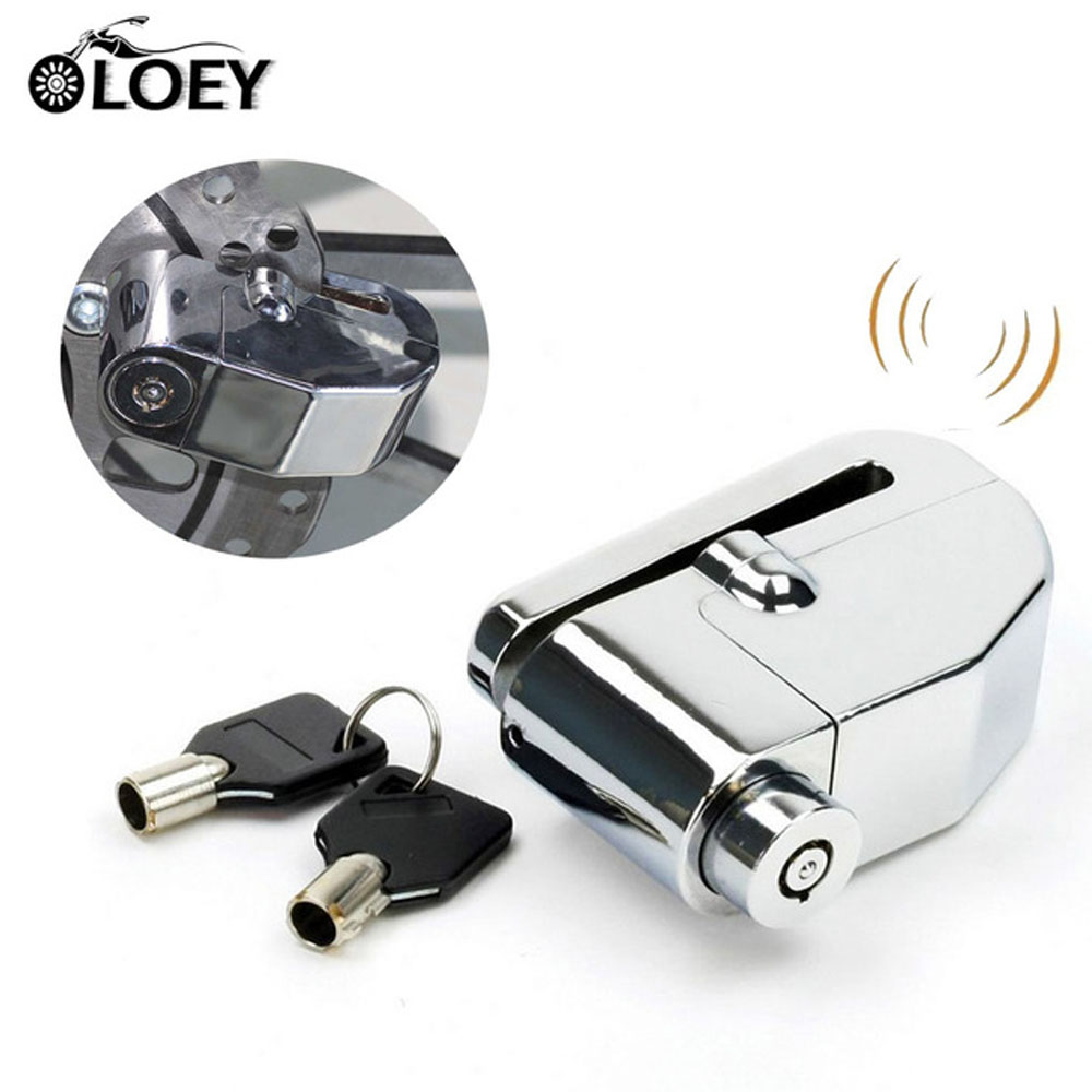 Chrome Motorcycle Anti theft Alarm Wheel Disc Brake Security Safety Siren Lock Motorbike Moto Bicycle Bike Scooter Alarm Lock