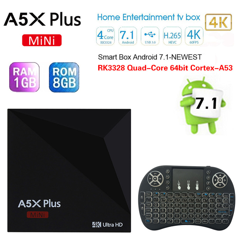 Wireless Keyboard Mouse + A5X Plus Mini TV Smart Box Android 7.1 RK3328 Quad-Core 64bit Cortex-A53 2.4G WiFi HDMI Smart TV Box