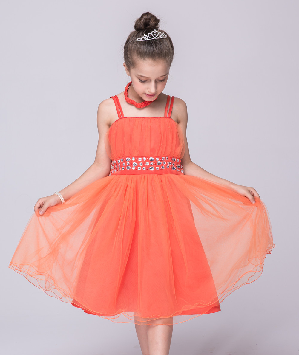 Children Sets 2pcs Fashion Flower Girls Princess Clothes Kids Vintage-style-wedding-dresses Baby Orange Ruffle Dress купить