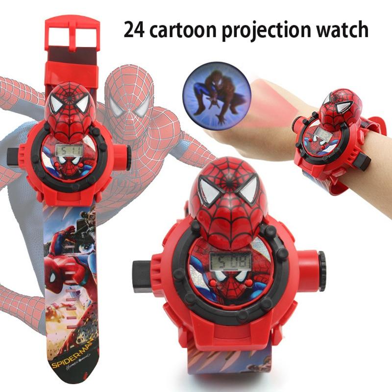 3D Cartoon Watch Avengers Spider Man/Ironman/Elsa/Captain America Projection Figure Watch 24 Images Kids Toys superior spider man volume 3