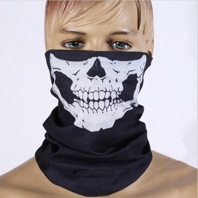 2018 езда евтини Хелоуин черепа маска визаж мото мотоциклет лицето маска мотоциклет Foulard спирала мото мотоциклет маска шал