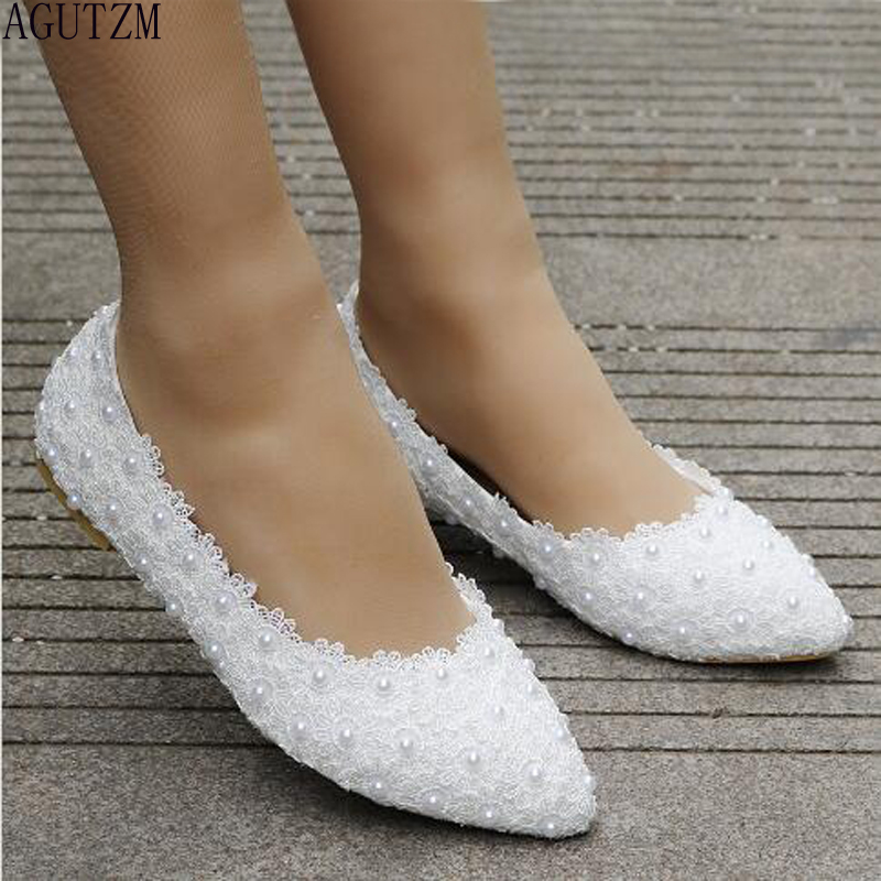 AGUTZM  White Lace Pearl Casual Women's Shoes 2018 WOMEN White Pointed Flat Shoes Wedding Shoe V391