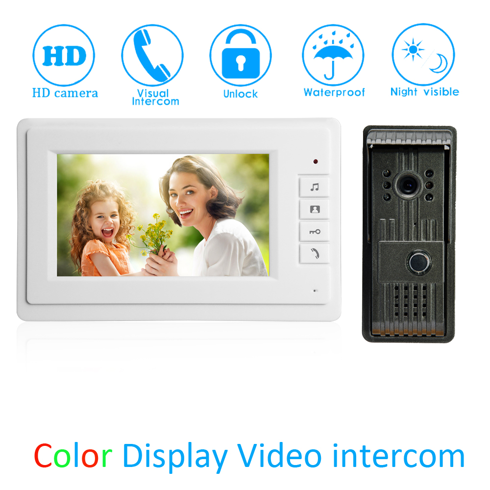 (1 Set) 7 Inch Video Door Phone LCD Colorful Screen Monitor Waterproof Outdoor Unit Door Unlock Talkback Intercom system Access