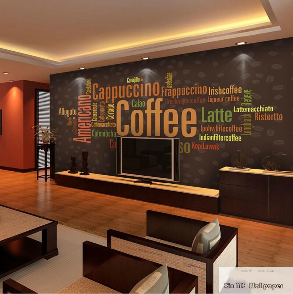 Coffee Letters Menu Fashion Art Classical Wall Paper Prints 3D Livingroom Mural Rolls for 3d Wall Brick Bedroom Dinning Decal