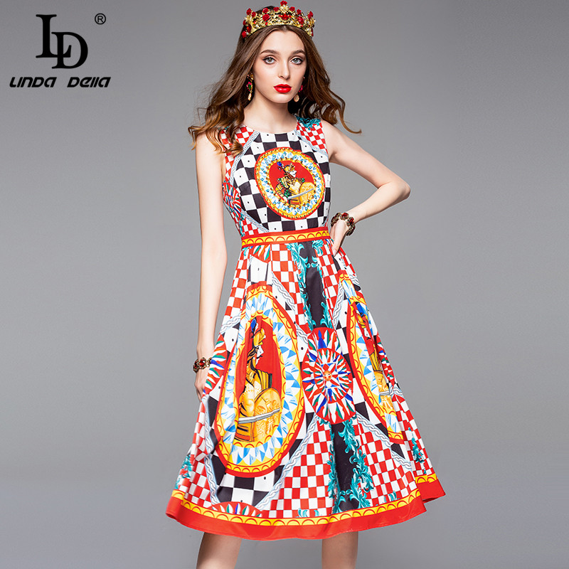 LD LINDA DELLA 2018 Fashion Designer Summer Dress Women s Sleeveless Tank Crystal Beading Warrior Pattern