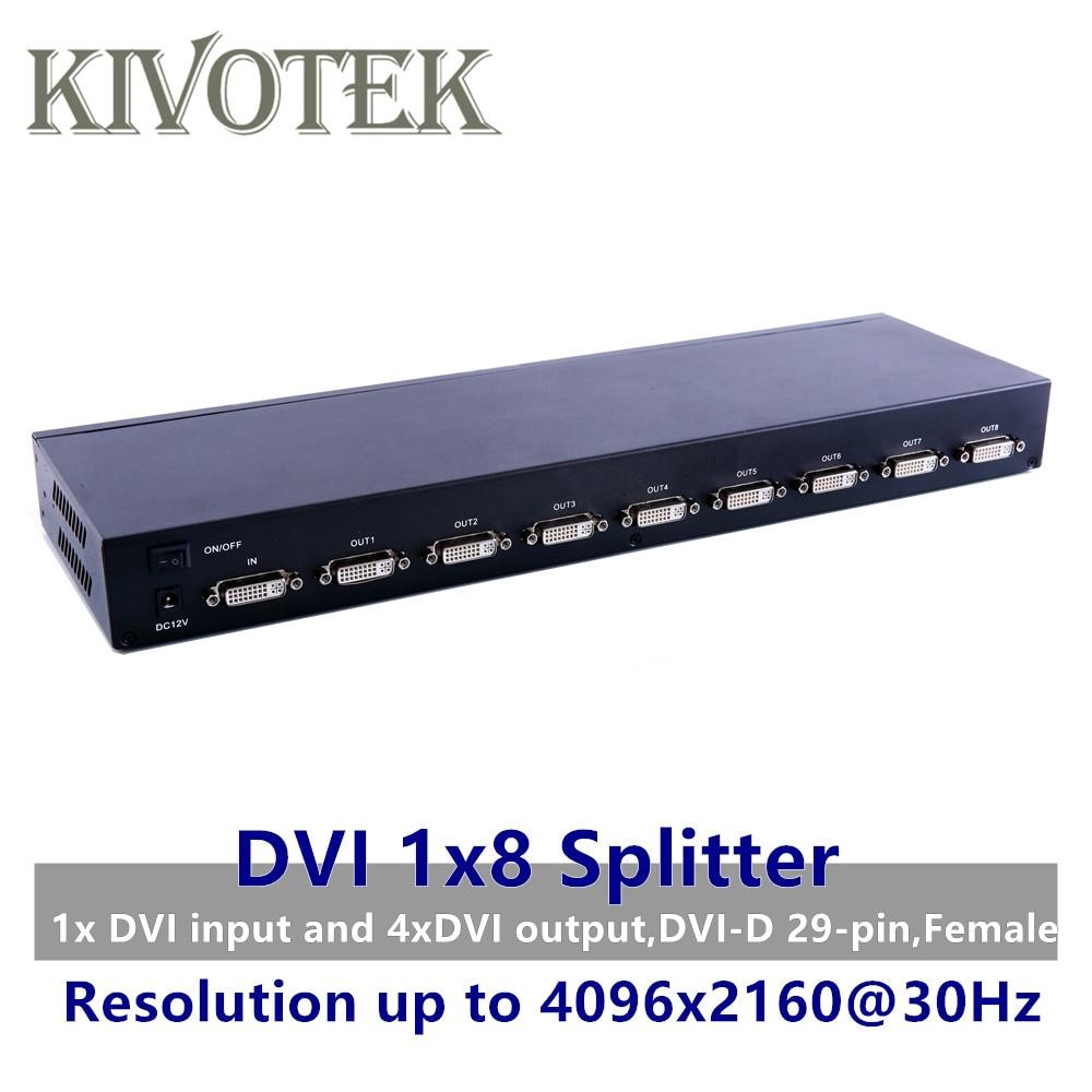8 портов разделитель DVI, Dual link DVI D 1X8 сплиттер адаптер дистрибьютор, разъем 4096x2160 5VPower для камера видеонаблюдения