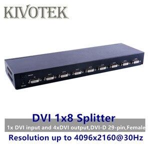 Image 1 - 8 Ports DVI Splitter, Dual link DVI D 1X8 Splitter Adaptateur Distributeur, Connecteur Femelle 4096x2160 5VPower Pour Moniteur DE VIDÉOSURVEILLANCE Caméra