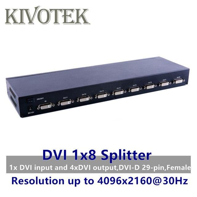 8 porty DVI Splitter, Dual link DVI D 1X8 przejściówka rozgałęziająca dystrybutora, złącze żeńskie 4096x2160 5VPower dla CCTV kamera monitorująca