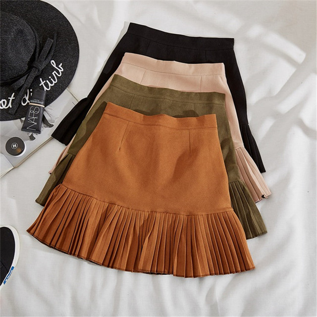 771213d087 Autumn Winter Short Suede Skirts Women Above Knee Fashion Solid Black A Line  Skirt High Waist Mini Skirt Army Green Size S-XL