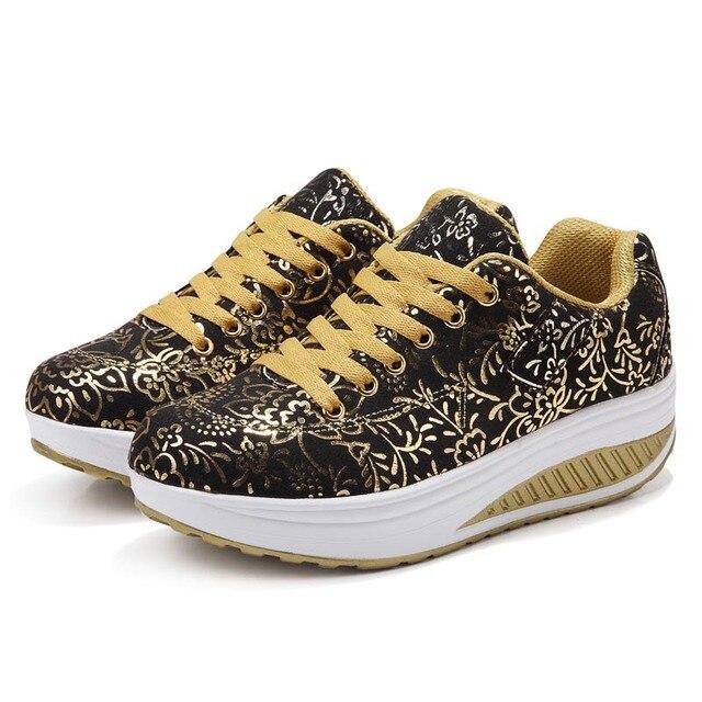2016 Женская Мода Высота Увеличение Клинья Обувь Горячие Продаж Женщин Похудеть Фитнес-Повседневная Обувь