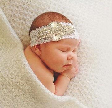 Archiwalne wysokiej jakości Baby Lace pałąk z shinning Rhinestone przycisk noworodka kryształowe nakrycia głowy dla dzieci Hairband akcesoria do włosów