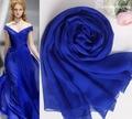 Шелк шифон шарф женщин осень 100% шелк темно-синий зимний платок для женщин роскошные известная марка шелковый пашмины зимний шарф