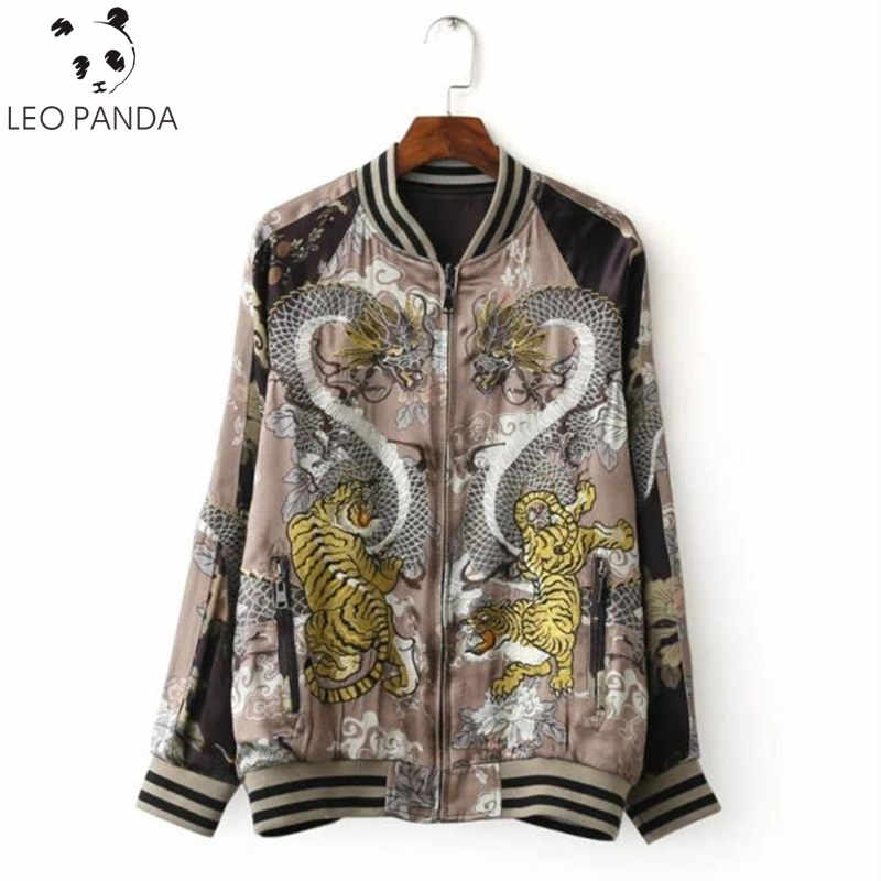 2018 Autumn Women Dragon Tiger Embroidered Bomber Jacket Fashion Brand Double Sided Printed Pilot Outerwear Jaqueta Female HF306