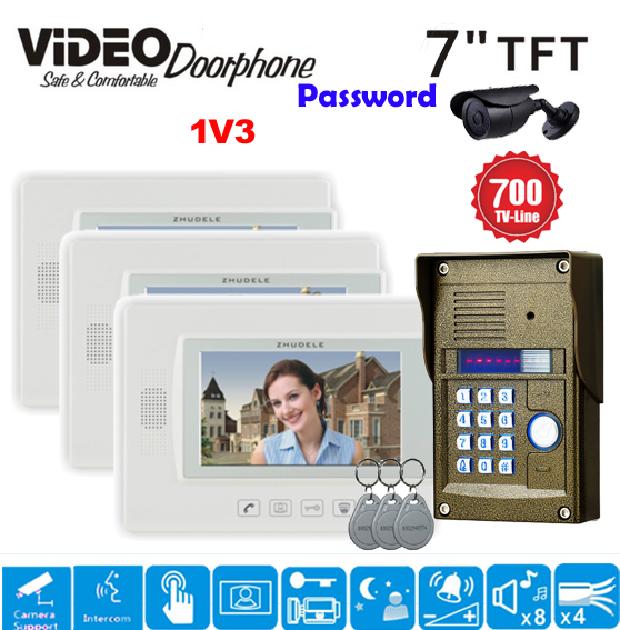 ZHUDELE Home Security Wired 7 Touch Screen Video Door Phone Intercom 3 Monitor + Outdoor RFID Access Camera Power Supply