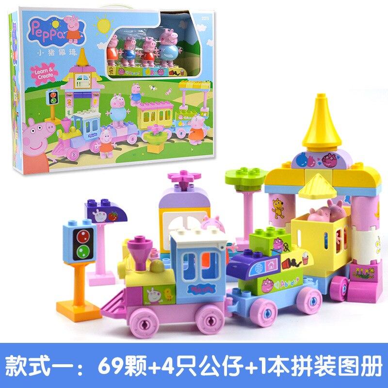Image 3 - Свинка Пеппа блоки игрушки 2213 73 шт./компл. большой поезд  строительные наборы детские игровые игрушки собранные игрушки для  детейБлочные конструкторы