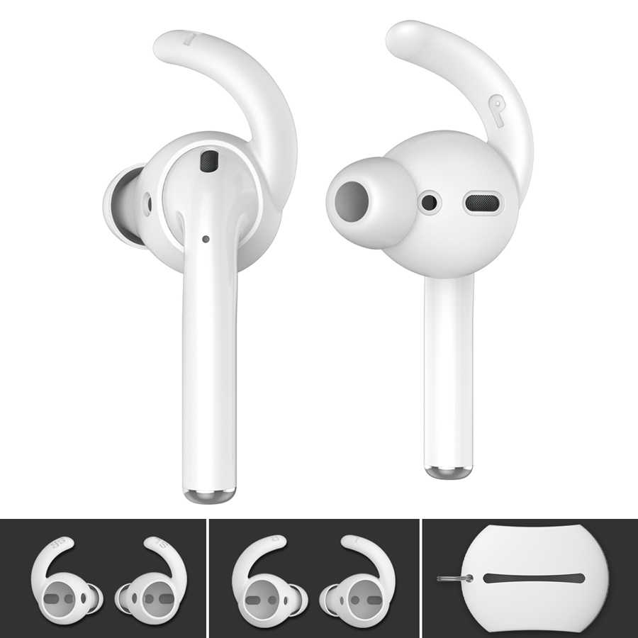 90414534987 2 Pairs Soft Silicone Ear Hooks Covers for Apple Airpods Earphone Case  Eartips Hook Storage Pouch