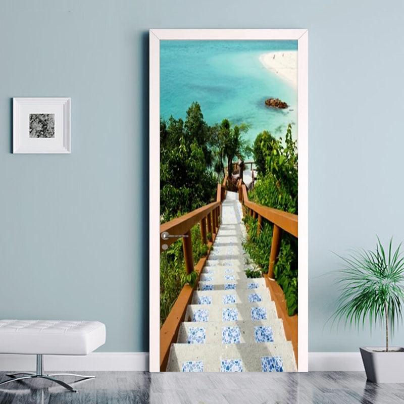 PVC Self Adhesive Waterproof Door Sticker 3D Aegean Sea Stairs Photo Wallpaper Living Room Bedroom Home Decor Wall Paper For 3 D