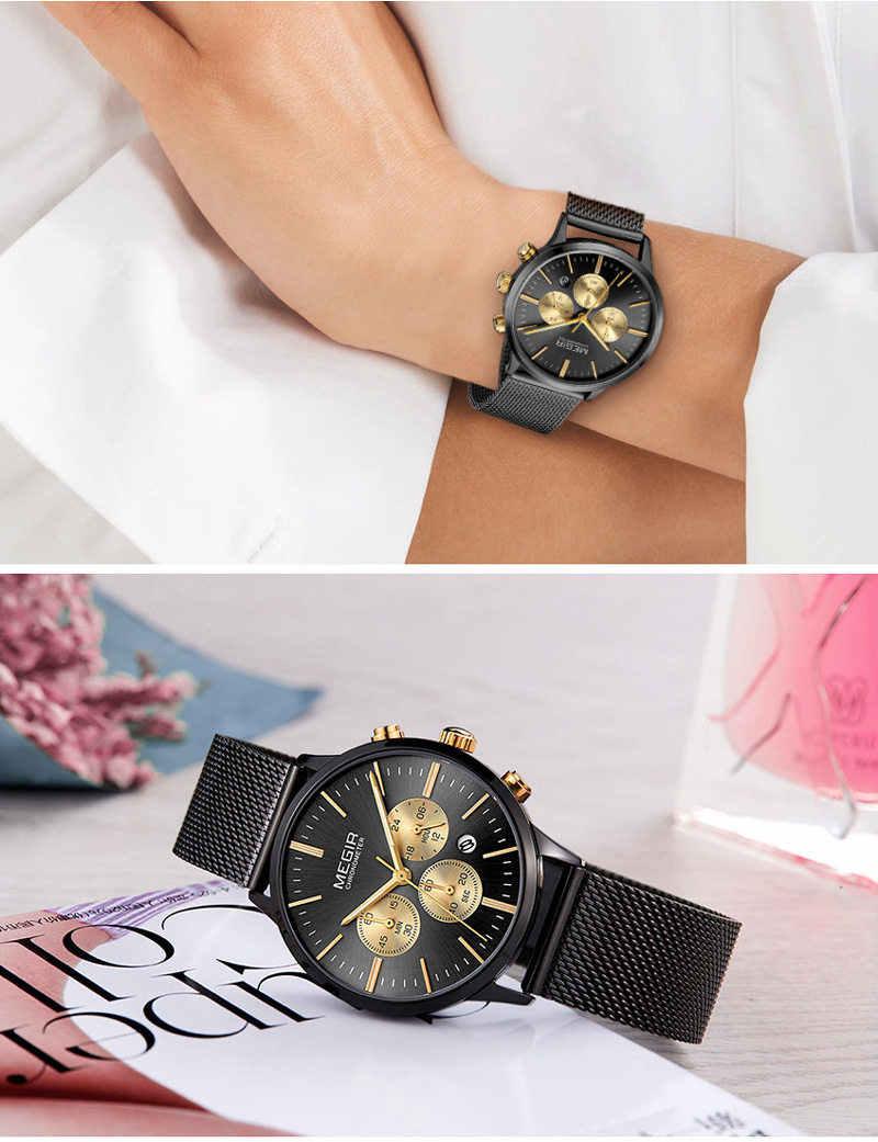 MEGIR วันที่ Chronograph นาฬิกาผู้หญิงนาฬิกาสุดหรูคนรักแบรนด์หญิงนาฬิกาตาข่ายสแตนเลสสตีลคลาสสิกนาฬิกาชุดนาฬิกากล่อง