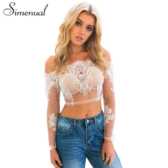 Simenual Off shoulder lace t shirt ladies sexy hot crop top see through transparent white women's tshirts top slash neck t-shirt